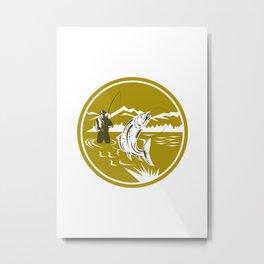 Fly Fisherman Reeling Trout Circle Retro Metal Print