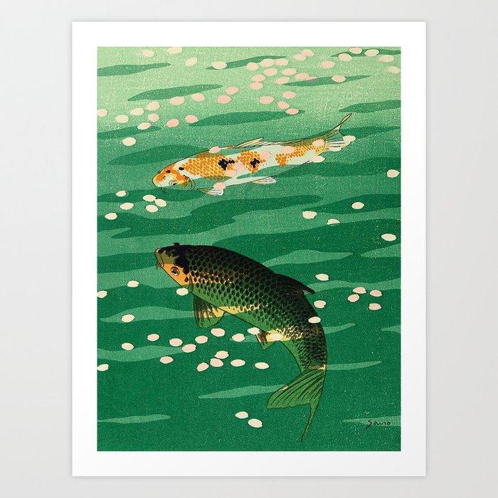 Vintage Japanese Woodblock Print Asian Art Koi Pond Fish Turquoise Green Water Cherry Blossom Kunstdrucke