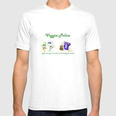 Veggie Police pt.2 MEDIUM White Mens Fitted Tee