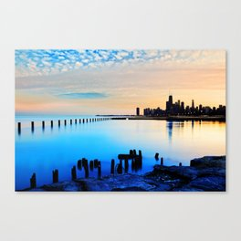 Chicago Skyline Waterfront at Sunset Canvas Print