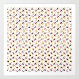Vector cupcakes pattern Art Print