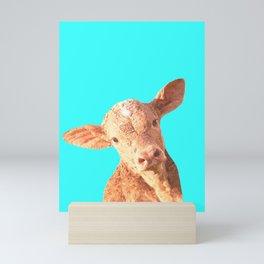 Baby Cow Turquoise Background Mini Art Print