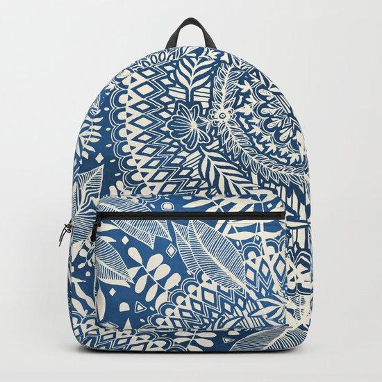 Diamond and Doodle Mandala On Blue Backpack