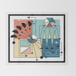 Colorful Mid Century Geometric Abstract Throw Blanket