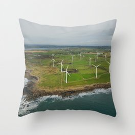 Aerial view of Carnsore Wind Farm Throw Pillow