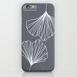 Ginkgo Leaves Grey iPhone Case