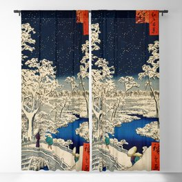 Ukiyo-e, Ando Hiroshige, Yuhi Hill and the Drum Bridge at Meguro Blackout Curtain