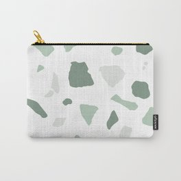 abstract terrazzo stone pattern sage green white Carry-All Pouch