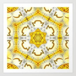 Golden abstract geometric infinite celestial circle star sun flower snowflake burst pattern design Art Print