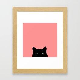 Sneaky black cat Framed Art Print