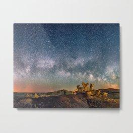 Panorama Bisti Badlands Hoodoos Under New Mexico Starry Night by OLena Art Metal Print