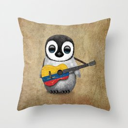 Baby Penguin Playing Colombian Flag Acoustic Guitar Throw Pillow