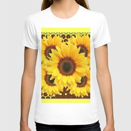 DECORATIVE DECO BROWN & YELLOW SUNFLOWERS DESIGN T-shirt