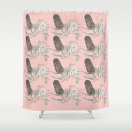 Banksia and Protea blush pink Shower Curtain