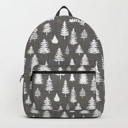 Pine Forest on Dark Linen Backpack