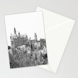 Black and White Neuschwanstein Castle in Winter Stationery Cards