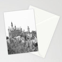 Black and White Neuschwanstein Castle in Winter Stationery Cards