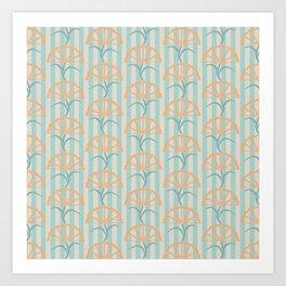 Modern Abstract Tropical Palm Frond Fan in Bold Teal Orange Beige Art Print