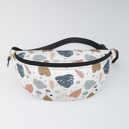 Leaves pattern in autumn colors with dots and circles Fanny Pack