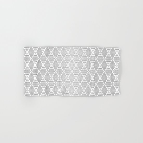 White and Silver Geometric Pattern Hand & Bath Towel