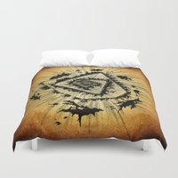 all seeing eye Duvet Covers featuring All-Seeing by DrøpDeadRian