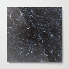 Dark blue Water Marble Metal Print