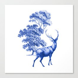 Classic French Toile Countryside Deer Pattern Canvas Print