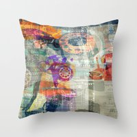 telephone Throw Pillows featuring Telephone by Arken25