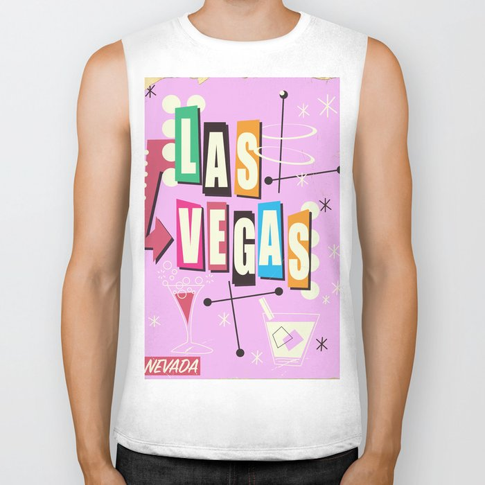 Vintage Las Vegas Vacation print pink version Biker Tank