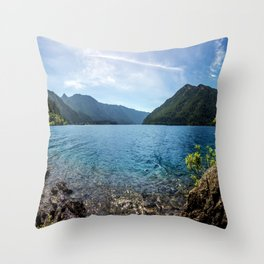 Lake Crescent Olympic Mountain Pano Throw Pillow
