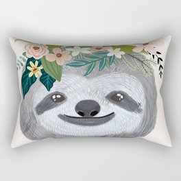 Sloth with flowers on head Rectangular Pillow