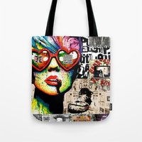 punk rock Tote Bags featuring Punk Rock poster by Mira C