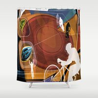 cycling Shower Curtains featuring Cycling by Robin Curtiss