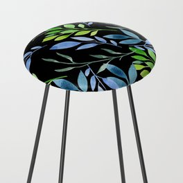 Blue and Green Leaves Counter Stool