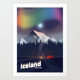 Iceland Northern lights travel poster Art Print