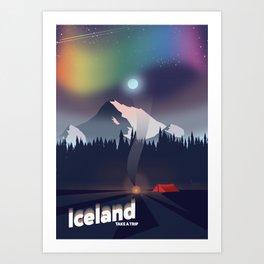 Iceland Northern lights travel poster Art Print