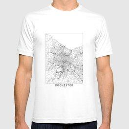 Rochester, New York White Map T-shirt