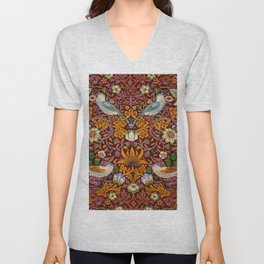 "William Morris ""Strawberry Thief"" 3. Unisex V-Neck"