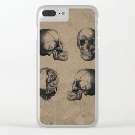 Skull View - Antique Vintage Style Medical Etching Clear iPhone Case