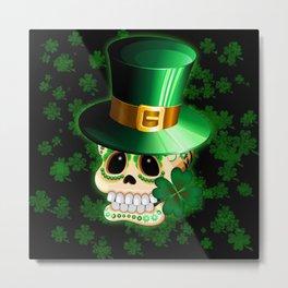 St Patrick Skull Cartoon  Metal Print