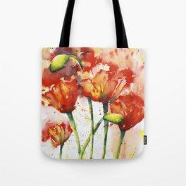 Lush Orange Spring Poppies Tote Bag