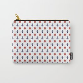 Maritime Seaside Beach Pattern - Anchors and Wheels - Mix & Match with Simplicity of life Carry-All Pouch