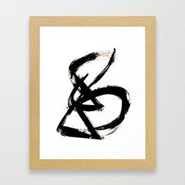 Brushstroke 3 - a simple black and white ink design Framed Art Print