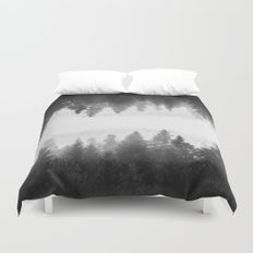 Black and white foggy mirrored forest Duvet Cover