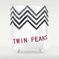 twin peaks Shower Curtains featuring Twin Peaks by BITN