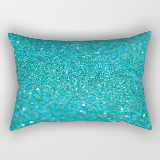 Bright Turquoise Glitter Rectangular Pillow