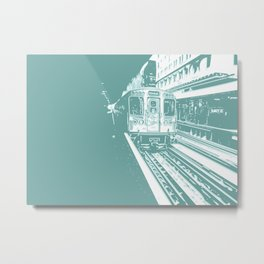 Teal Brown Line Metal Print