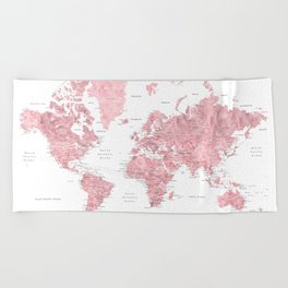 Light pink, muted pink and dusty pink watercolor world map with cities Beach Towel