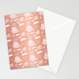 Golden Pink Tropical leaf Stationery Cards