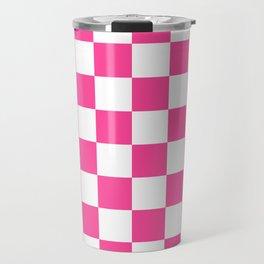Cheerful Pink Checkerboard Travel Mug